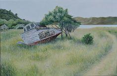 Boat at Te Awaiti on Arapawa Island Tory Channel, Queen Charlotte Sound, NZ. Oil on canvas, 610 mm x 910 mm. Studio 202 Levin NZ