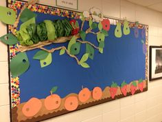 The Very Hungry Caterpillar bulletin board idea! I just used tissue paper and folded it accordion style to make the caterpillar. Could also be used for the 7 habits-begin with the end in mind. He thinks about becoming a butterfly! Caterpillar Bulletin Board, Butterfly Bulletin Board, Hungry Caterpillar Classroom, Hungry Caterpillar Activities, Caterpillar Craft, Very Hungry Caterpillar, Eric Carle, Toddler Classroom, Preschool Classroom