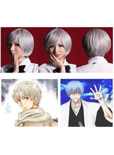 Sketchy Capless Short Synthetic Hair White Straight Cheap Costume Wigs