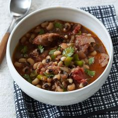 Black-Eyed Pea Stew with Sausage | Gail Simmons 's  thick, luscious stew is loaded with tender peas and spicy Italian sausage.