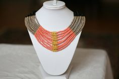 FREE SHIPPING 3color Beaded Necklace by DesignByDO on Etsy