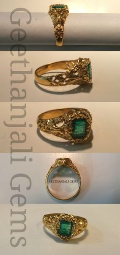 antique gold ring seated with natural emerald