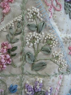 From the Crazy Quilt Stitches book but using ribbon. Beautiful! Crazy Quilting, Silk Ribbon Embroidery, Stitch, Ribbon Embroideri, Ribbon Work, Crazi Quilt, Ribbon Flower