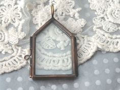 1 Glass House Locket Home Shape Antique Bronze Double by BuyDiy
