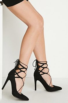 Lace-Up Faux Suede Pumps | Forever 21 - 2000163354