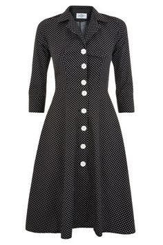 The Molly Dress - Black Polkadot | Tara Starlet Cute retro inspired spotty dress with white flower buttons and 3/4 sleeves, perfect for spring!