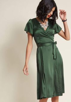 Louche Satin Midi Wrap Dress in 14 (UK) - Short Sleeve A-line by Louche from ModCloth