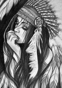 really cool drawings Native American Drawing, Native American Tattoos, Native Tattoos, Tattoo Girls, Girl Face Tattoo, Tattoos For Guys, Wolf Girl Tattoos, Chicano Tattoos, Leg Tattoos