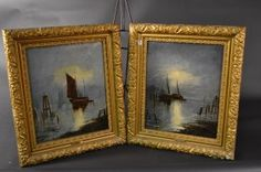 """Pair of 19th Century Framed Oils on Canvas - Boats in Moonlight Size : 28.5"""" x 24"""" frame."""