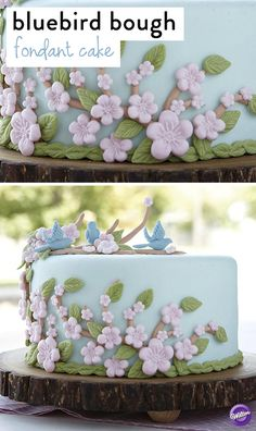 Pretty flowers and leaves, winding branches and sweet bluebirds create a charming nature scene on this beautiful cake perfect for Mother's Day!