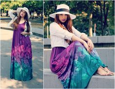 summer curvy maxi dress long hat violet green