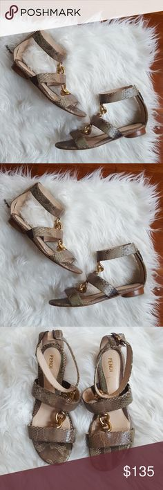 {fendi} Snakeskin Sandal Authentic Fendi Snakeskin Sandal Zipper back  Size 37 | US 7 Taupe Tan Brown Gold Accents Used Great Condition Fendi Shoes Sandals