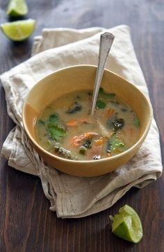 Coconut Milk Soup with Wild Salmon and Kale by healthygreenkitchen #Soup #Coconut_Milk #Salmon #Kale #Healthy