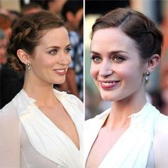 Emily Blunt shows off some beautiful Dutch braids that culminate in a small chignon at the nape of her neck. #shorthair #updos