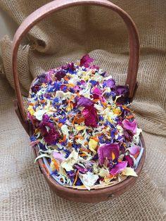 basket of dried petal confetti, trug of confetti, real petals, wedding confetti, multi colour petals