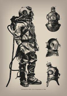 Vintage Deep Sea Diver by EclecticAtHeART Diving Helmet, Diving Suit, Sea Diving, Cliff Diving, Tattoo Mascara, Scuba Diving Tattoo, Diving Logo, Diver Tattoo, Deep Sea Diver