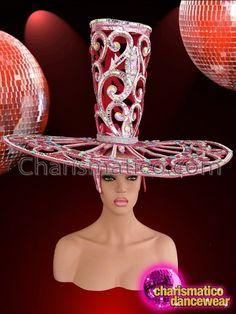 Charismatico Dancewear Store - CHARISMATICO Open-Work Pink Glitter Diva's Valentine Top Hat Headdress With Crystals, $175.00 (http://www.charismatico-dancewear.com/charismatico-open-work-pink-glitter-divas-valentine-top-hat-headdress-with-crystals/)