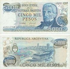 Argentina Pesos banknotes for sale. Dealer of quality collectible world banknotes, fun notes and banknote accessories serving collectors around the world. Over 5000 world banknotes for sale listed with scans and images online. World Coins, Barbie Accessories, Retro, Nostalgia, Personalized Items, Antiques, Trance, Chile, Personal Style