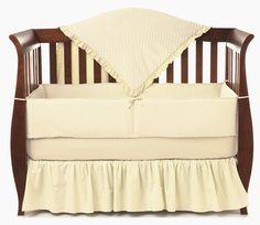 American Baby Company Heavenly Soft Minky Dot 4-Piece Crib Bedding Set, Ecru