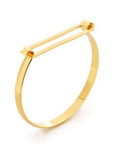 Chiaki Cutout Bar Bangle Bracelet / Soo Ihn Kim Jewelry / Rs.5963  (18K yellow gold-plated brass open bar bangle bracelet with hinge closure)