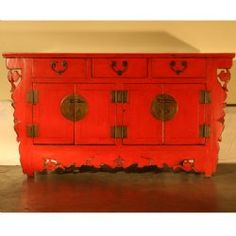 Antique Asian Chinese Furniture Buffet Cabinet, Red 4 Door 3 Drawer