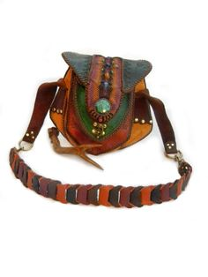 Leather Purse with Turquoise Stone, High End Tribe Fashion by Elquino