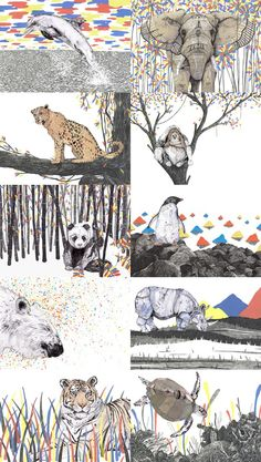 I especially like the Panda and Polar bear prints. These are cards of endangered species on Etsy. -kwa