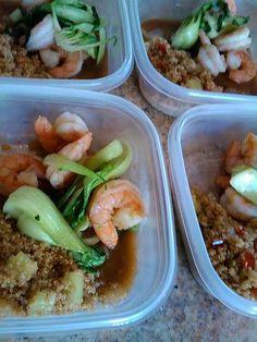 Pan seared shrimp with mango ginger glaze, sauteed baby bok choy and stirfried vegetable quinoa. www.friendthatcooks.com
