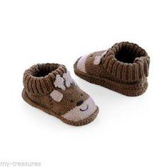 NEW Carter's brown Reindeer or red Santa Booties Shoes Newborn Baby Unisex Med  #Carters #Booties