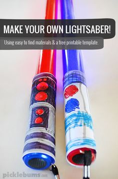 Make a Lightsaber . These lugtjhsabers are easy to make with basic items, there is a free printable template for the handle, and they really light up too! Make Your Own Lightsaber, Diy Lightsaber, Theme Star Wars, Star Wars Party, Disfraz Darth Vader, Diy For Kids, Crafts For Kids, Summer Crafts, Preschool Crafts