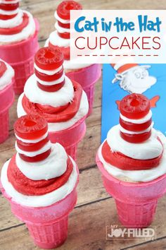 These Cat in the Hat cupcakes are a fun and unique treat for your next Dr. Seuss themed party or story time treat. Easy to make and super cute! The Effective P Dr. Seuss, Piping Frosting, White Frosting, Halloween Cupcakes, Fun Snacks For Kids, Kids Meals, Kid Snacks, Life Saver Gummies, Cupcake Recipes