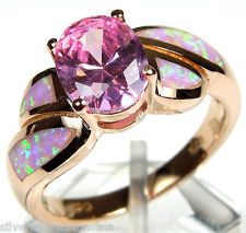 Rose Gold Plated Pink Topaz & Pink Fire Opal Inlay 925 Sterling Silver Ring.. Too cheap for an engagement ring but I like!