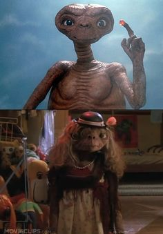 E.T. - why would you make an alien small and wrinkly, he looked like a scary old person, esp when in drag