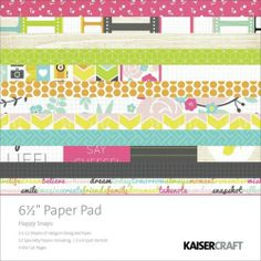 KAISERCRAFT PAPER PP936 - HAPPY SNAPS - 6.5x6.5  KAISERCRAFT-Happy Snaps Paper Pad. A great addition to your paper crafts! This package contains one 6-1/2x6-1/2 inch pad with four unique die cut pages (twenty-eight die-cuts total), twenty-four designer sheets in twelve different designs(two of each design) and twelve spot varnish sheets in six different designs (two of each design). Photo friendly.