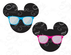 Mickey and Minnie Mouse Summer - Cuttable Design File (SVG, EPS, JPG) For Silhouette Studio, Cricut Design Space, Cutting Machines