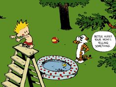 Calvin and Hobbes - my favorite comic ever :D My two grandsons could be Calvin's brothers in thought and deed