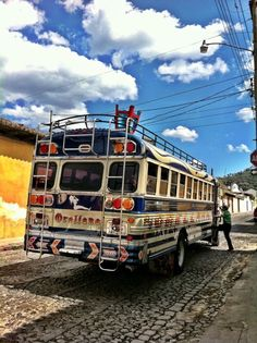 Chicken bus in Antigua- This pic brings back fond memories of riding the chicken bus from Antigua to Chimaltenango.
