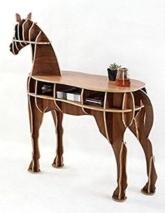 Other Home Office Wooden Horse Style Desk Black Walnut Color