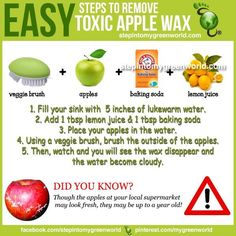 Remove toxic wax on apples