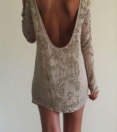 dress, lowback, longsleeve, long sleeve, sparkles, short, prom | Wheretoget.it