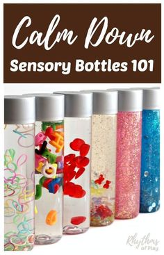 """DIY Calm down sensory bottles are used for portable no mess safe sensory play for babies, toddlers, and preschoolers, to calm an anxious child, to help children learn to meditate, and as a """"time out"""" timer for kids. This article includes links to resources available to help learn more about their uses and how to make DIY sensory bottles."""