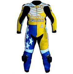 YELLOW BLUE UNBEATEN RACERS AMERICAN HONDA REPSOL MOTORBIKE RACING SUIT MEN'S
