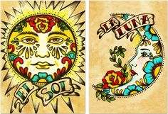 Old School Tattoo Art Print Loteria El SOL & LA LUNA 5 x 7 Set.