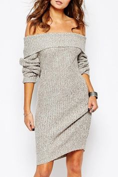 Sexy Light Gray Off The Shoulder Sweater Dress