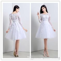 Youthful Short 2015 Wedding Dresses Knee-length Cheap Stockings Bridal Gowns with Long Sleeves White Black Lace Bride Dress In Stock SX020 Online with $67.02/Piece on Queenwedding's Store | DHgate.com