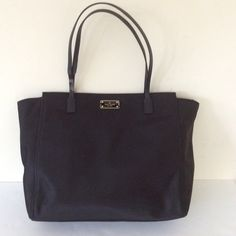 """Kate Spade Black Nylon Tote Bag Kate Spade Black Nylon Tote Bag please see pictures for peeled leather on straps, dimensions: 13.5"""" width by 12"""" height by 4"""" depth ❌ sorry no trades - price is firm even if bundled ❌ kate spade Bags Totes"""