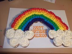 Rainbow Cupcake Birthday Cake - Made this for my daughter's birthday at school!!