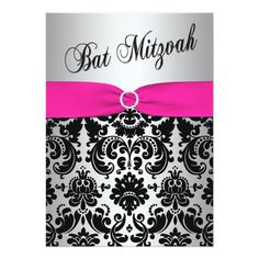 Shop PRINTED RIBBON Silver, Teal Damask Wedding Invite created by NiteOwlStudio. Personalize it with photos & text or purchase as is! Teal Wedding Invitations, Sweet Sixteen Invitations, Bat Mitzvah Invitations, Elegant Wedding Invitations, Custom Invitations, Party Invitations, Invitation Design, Invitation Cards, Invite