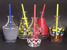 Vintage French Liqueur Carafes 1950 - Mid Century Glassware - Aperitif  Drinks Collection - Mid Century