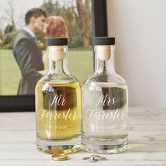 I've just found Personalised Mr And Mrs Decanters. Two typography style glass decanters personalised with the couple's names and Wedding date - a perfect Wedding or Anniversary gift.. £46.00